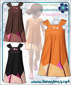 Embroidered flowers dress for girls, recolorable