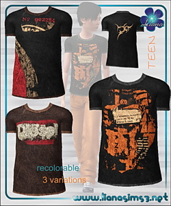 Teen male t-shirt, 3 variations included