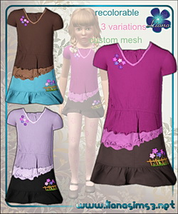 Outfit for girls - ruffled hem top and mini skirt, recolorable