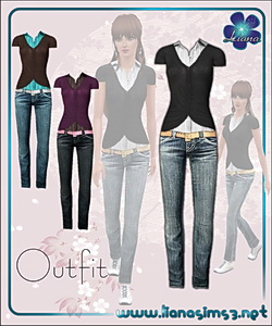 Outfit with jeans, shirt and blazer, recolorable