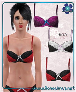 Lace and satin bra, recolorable