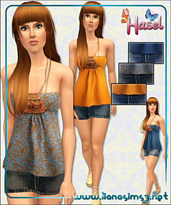 Halter top and denim mini skirt, outfit, recolorable