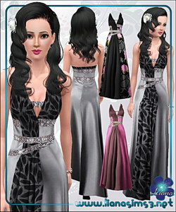 Formal satin dress with rhinestone details, fully recolorable - fixed link