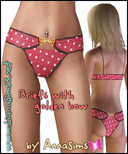 Fashion briefs with golden bow available as sleepwear and swimwear. You can change the colors and the patterns in 2 areas.