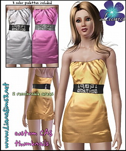 Get your sims ready for the next party event with this mini satin dress featuring a large stretch belt with silver details! 3 color palettes included and custom mesh!
