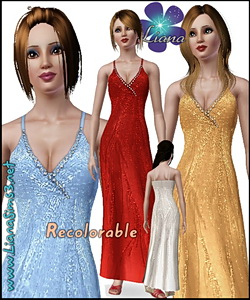 Stylish occasion wear with rhinestones and V-neck, 4 color variations included, recolorable, new mesh and bump included. Made with TSR Workshop.
