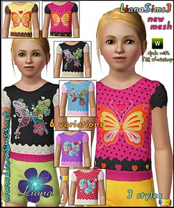 Joyful girl top with butterflies and hearts - 3 styles included, 6 color variations, recolorable, new mesh included, made with TSR Worshop.
