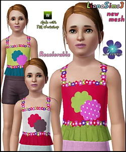 Adorable children top, 3 color variations, recolorable, new mesh