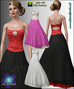 Formal embroidered princess dress featuring a brooched corset and open back. Recolorable, 3 color variations included.