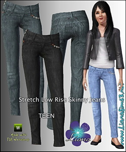 Stretch low rise skinny jeans for TEENS (conversion from adult requested), recolorable, 3 color variations included.