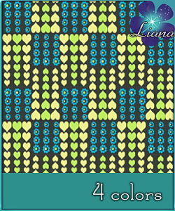 Hearts and flowers - pattern in 4 colors - best suited for children: wallpapers, carpets, furniture and clothes!